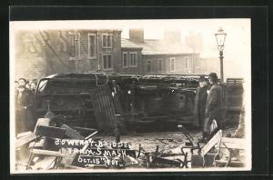 AK Halifax, Sowery Bridge Tram Crash, Unfall mit Strassenbahn 1907