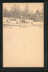 Lithographie Hamburg, Segelschiffe im Hafen