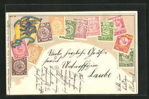 AK China, Briefmarken des Landes, Fahne mit Drachen