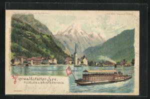 Lithographie Flüelen, Vierwaldstätter-See mit Bristenstock, Halt gegen das Licht