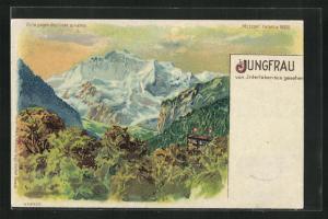 Lithographie Jungfrau, von Interlaken aus gesehen, Halt gegen das Licht