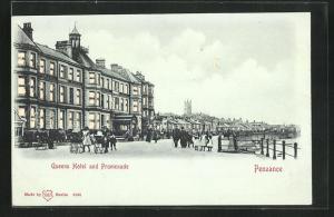 AK Penzance, Queens Hotel and Promenade, Halt gegen das Licht