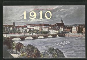AK Basel, Fluss mit Brücke, Kirchen und Häuser, Grusskarte Jahreszahl 1910