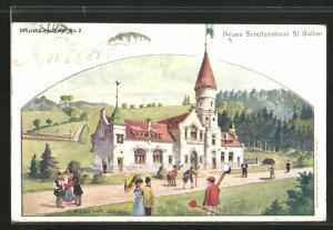Künstler-AK St. Gallen, Neues Schützenhaus mit Spaziergängern, Schützenverein
