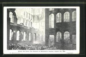 AK Nottingham, Whitehall`s Factory, Where the Great Fire Started, August 5th, 1905, Brandruinen