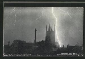 AK Mere, Thunder Storm May 13th 1906, Blitzeinschlag bei Kirche, Unwetter