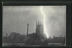 AK Mere, Blitzeinschlag bei Kirche, Thunder Storm May 13th 1906, Unwetter