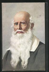 AK Turnvater Jahn mit langem weissem Bart und dem eisernen Kreuz am Jackett