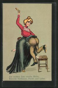 AK Emanzipation, Frau verhaut mit Schuh einen Mann, Zur rechten Zeit erteilte Hiebe, Erweckt Vertrauen, Furcht und Liebe
