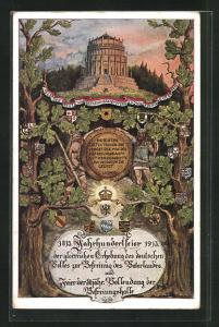AK Befreiungskriege, Befreiungshalle, 1813 Jahrhundertfeier 1913, Wappen an Bäumen, Krieger