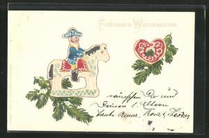Präge-AK Weihnachtsgruss mit Reiter und Herz aus Lebkuchen