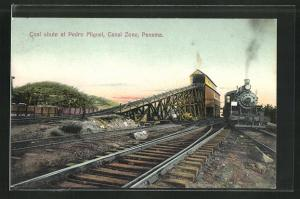 AK Panama, Coal shute at Pedro Miguel, Canal Zone, Eisenbahn