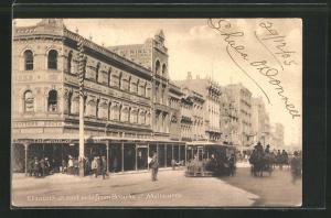 AK Melbourne, Elizabeth Street, east side from Bourke Street, Tramway