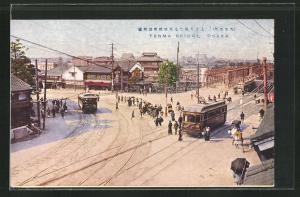 Künstler-AK Osaka, Tenma Bridge with Tramways