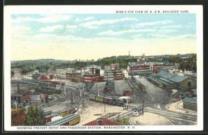 AK Manchester, NH, Birdseye View of B. & M., showing Freight Depot and Passenger Station