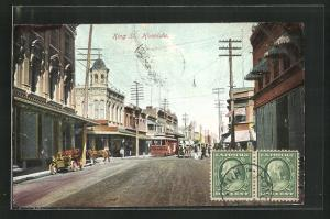 Künstler-AK Honolulu, HI, King Street with Tram
