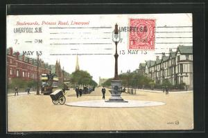 Künstler-AK Liverpool, Boulevards and Princes Road
