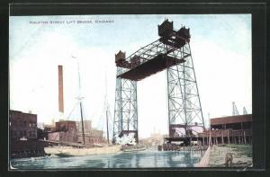 Künstler-AK Chicago, IL, Halsted Street Lift Bridge
