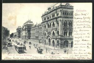 AK Calcutta, View of Writers Building and Tram