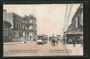 AK Sydney, Treasury Building, Queen Street, Strassenbahn