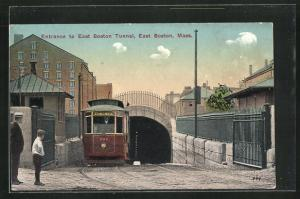 AK East Boston, MA, Entrance to East Boston Tunnel, Strassenbahn
