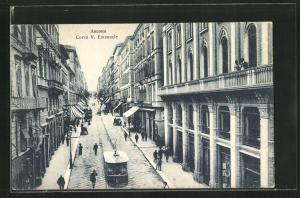 AK Ancona, Corso V. Emanuele, Strassenbahn