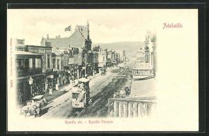 AK Adelaide, Rundle Street mit Strassenbahn