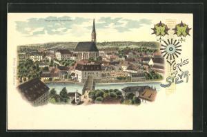 Lithographie Steyr, Blick von der Ennsleithen zur Kirche