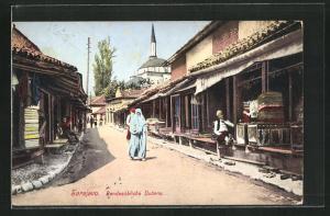AK Sarajewo, Landesübliche Ducans, Strassenpartie mit Moschee