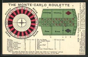AK The Monte-Carlo Roulette, Rouletterad und Tableau
