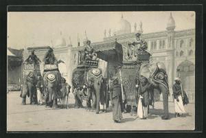 AK Inder reiten Elefanten vor dem Tempel