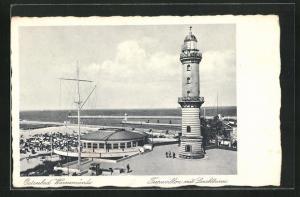 AK Warnemünde / Ostseebad, Teepavillon mit Leuchtturm