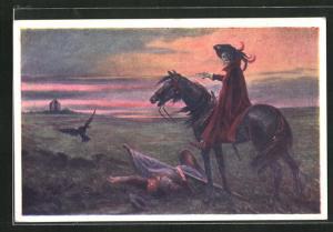 AK Kriegsbote, Der Tod auf einem Pferd vor einem Toten