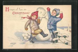 AK Kinder bauen einen Schneemann, Heaps of fun on Christmas