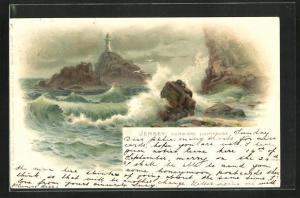 Lithographie Jersey, Corbiere Lighthouse mit Wellen an Klippen