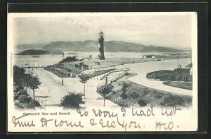 AK Plymouth, Hoe and Sound, Blick auf Promenade mit Leuchtturm