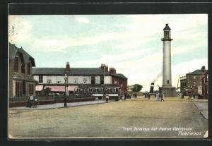 AK Fleetwood, Tram Terminus and Pharos Lighthouse, Leuchtturm und Strassenbahn