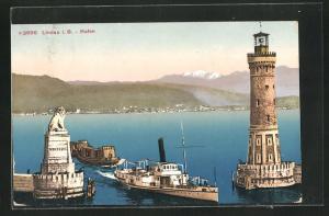 AK Lindau i. B., Hafen mit Leuchtturm