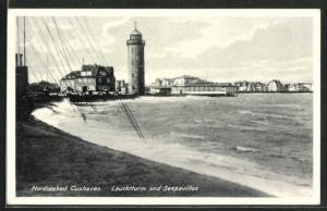 AK Cuxhaven, Leuchtturm und Seepavillon