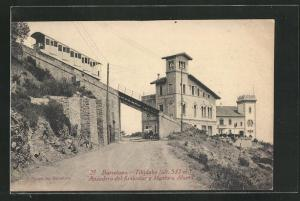 AK Barcelona, Tibidabo, Apeadero del funicular y Mentora Alsina, Bergbahn