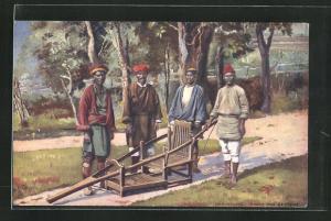 AK Darjeeling, Dandy and Bearers, Träger mit Sänfte