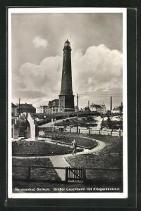 AK Borkum, Grosser Leuchtturm mit Kriegerdenkmal