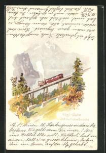 Lithographie Rigi-Bahn auf der Schnurtobelbrücke