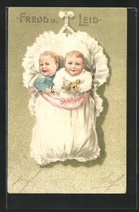 Präge-AK Freud und Leid, Säuglinge teilen sich dasselbe Bettchen
