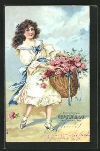 Präge-Lithographie Glückwunsch zum Geburtstage, Mädchen mit Korb voller Rosen