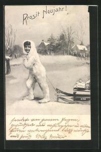 AK Prosit Neujahr!, Kind in Schneemannkostüm