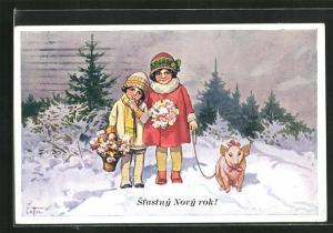 Künstler-AK Stástny Novy rok!, Kinder mit Glücksschwein