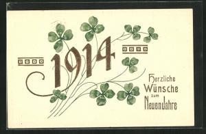 AK Herzliche Wünsche zum Neuen Jahre, Jahreszahl 1914, Klee