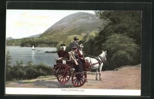 AK Irish Jaunting Car, Pferdekutsche