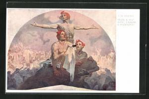 Künstler-AK Alphonse Mucha: Silou K Svobode, Laskou K Svornosti, Das Erwachen